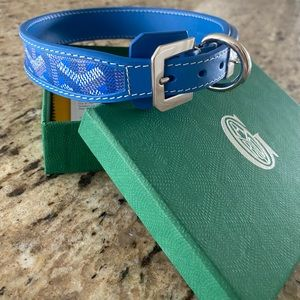 Blue Goyard dog collar